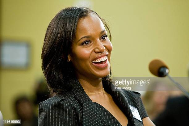 Actress Kerry Washington testifies at a House Appropriations hearing on Funding for the Arts at the Rayburn House Office Building on April 1 2008 in...