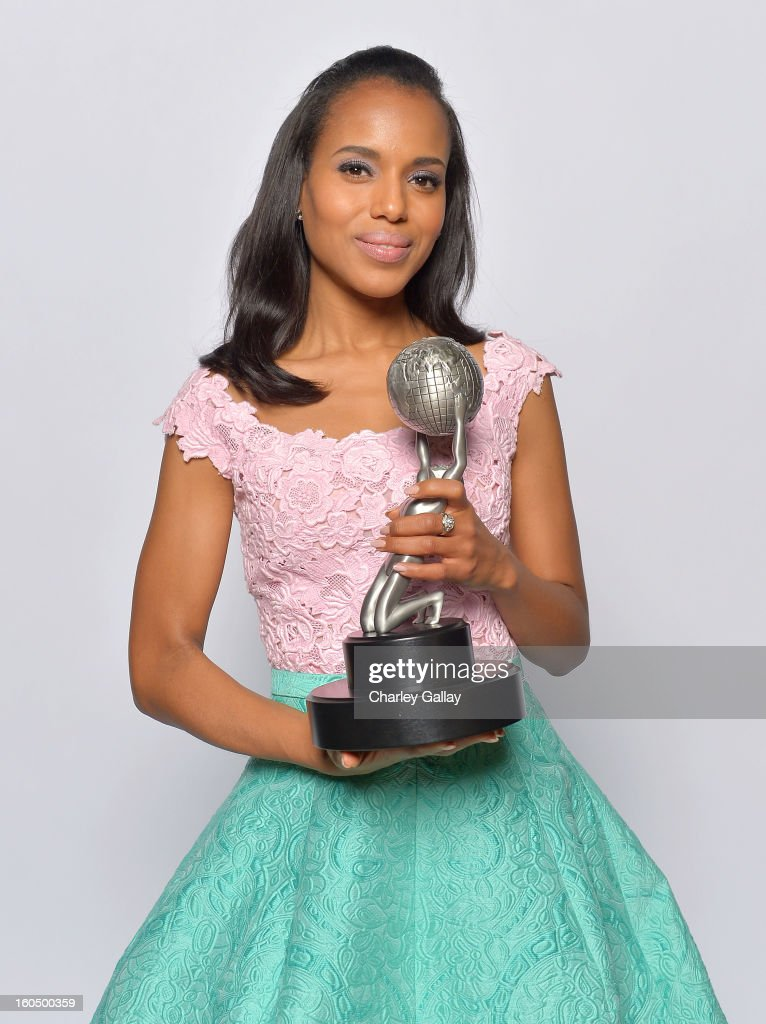 Actress Kerry Washington, winner of Outstanding Actress in a Drama Series for 'Scandal,' Outstanding Supporting Actress in a Motion Picture for 'Django Unchained' and Honoree of the President's Award, poses for a portrait during the 44th NAACP Image Awards at The Shrine Auditorium on February 1, 2013 in Los Angeles, California.