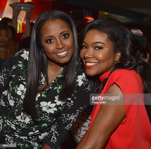 Actress Keshia Knight Pulliam and actress Gabrielle Union attend LudaDay Celebrity Bowling Spades Tournament at Bowlmor Lanes on September 3 2015 in...