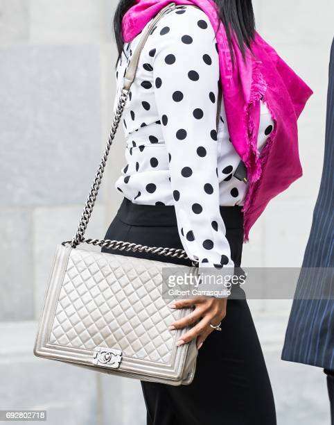Actress Keshia Knight Pulliam, handbag detail, is seen leaving the first day of Bill Cosby trial at at Montgomery County Courthouse on June 5, 2017...