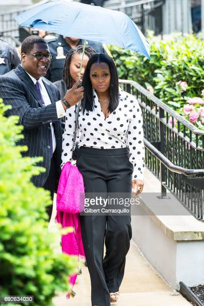Actress Keshia Knight Pulliam is seen leaving the first day of Bill Cosby trial on June 5, 2017 in Norristown, Pennsylvania.