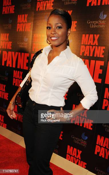 Actress Keshia KnightPulliam attends the Max Payne Red Carpet Screening Featuring Chris Ludacris Bridges at Rialto Center For The Arts on October 16...
