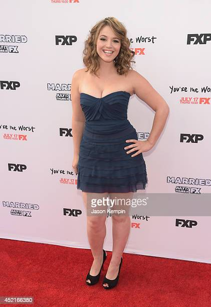 Actress Kether Donohue attends the premiere screening's for FX's You're The Worst And Married at Paramount Studios on July 14 2014 in Hollywood...