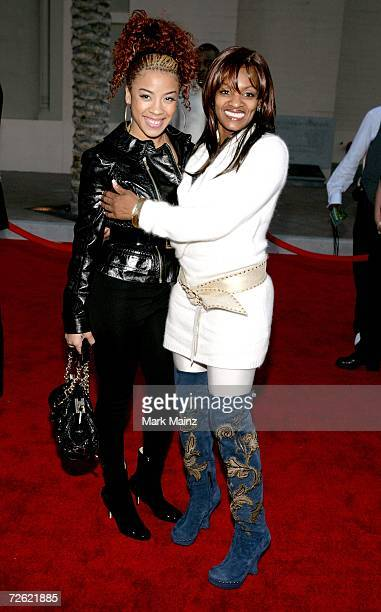 Actress Keyshia Cole and friend poses backstage at the 2006 American Music Awards held at the Shrine Auditorium on November 21 2006 in Los Angeles...