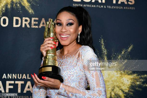 Actress Kgomotso Christopher with her award during the 13th annual South African Film and Television Awards at the Sun City Superbowl on March 02...