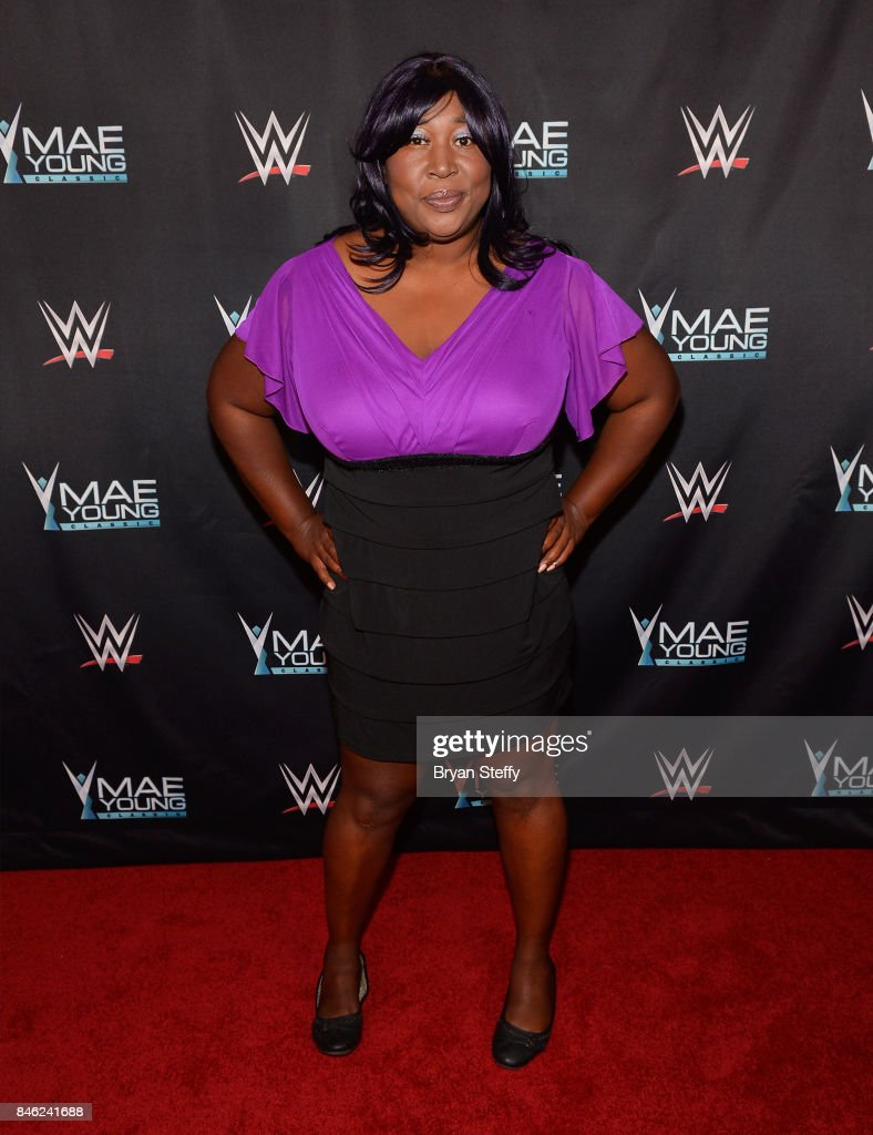 Actress Kia Stevens of the television series 'GLOW' appears on the red carpet of the WWE Mae Young Classic on September 12, 2017 in Las Vegas, Nevada.