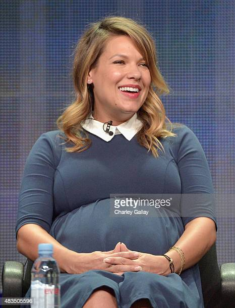 Actress Kiele Sanchez speaks onstage during the DIRECTV's presentation of KINGDOM at the 2015 Summer TCA Press Tour at The Beverly Hilton Hotel on...