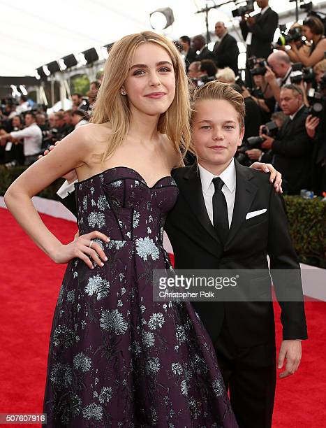 Actress Kiernan Shipka and actor Mason Vale Cotton attend The 22nd Annual Screen Actors Guild Awards at The Shrine Auditorium on January 30 2016 in...