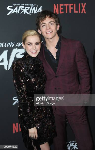 Actress Kiernan Shipka and actor Ross Lynch at the Premiere Of Netflix's 'Chilling Adventures Of Sabrina' held at The Hollywood Athletic Club on...