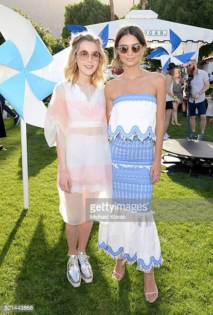 Actress Kiernan Shipka and actress/model Emily Ratajkowski attend Emily Ratajkowski hosts Sunset Kickoff at the POPSUGAR Cabana Club on April 15 2016...