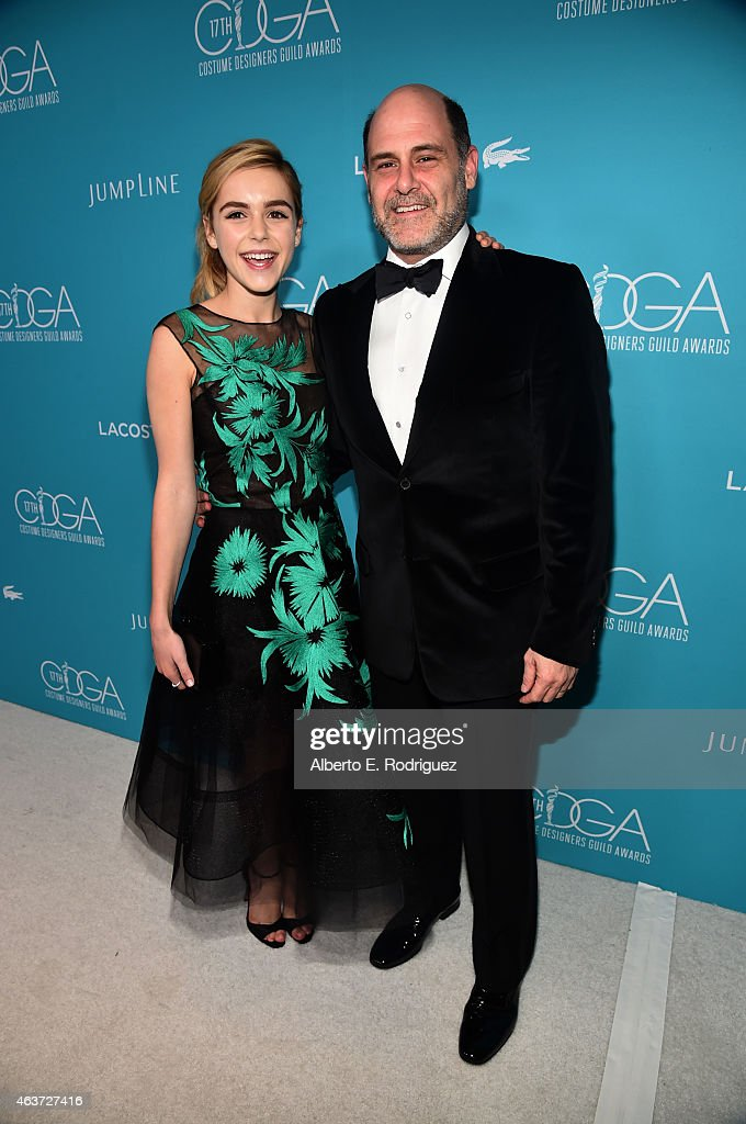 Actress Kiernan Shipka (L) and writer/producer Matthew Weiner attend the 17th Costume Designers Guild Awards with presenting sponsor Lacoste at The Beverly Hilton Hotel on February 17, 2015 in Beverly Hills, California.