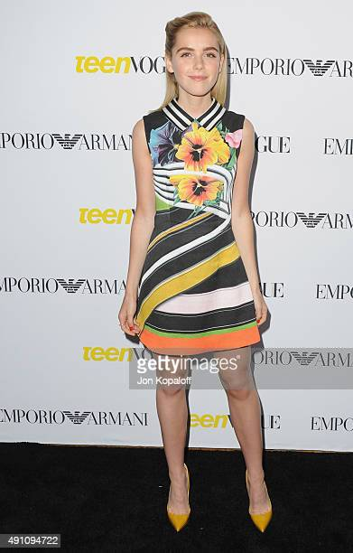 Actress Kiernan Shipka arrives at Teen Vogue's 13th Annual Young Hollywood Issue Launch Party on October 2 2015 in Los Angeles California