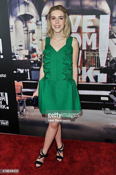 Actress Kiernan Shipka arrives at the Los Angeles Premiere of Abramorama's Live From New York at Landmark Theatre on June 10 2015 in Los Angeles...