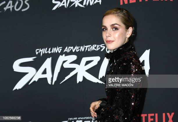 US actress Kiernan Shipka arrives at the Season 1 Netflix's Chilling Adventures of Sabrina Premiere at the Hollywood Athletic Club on October 19 2019...