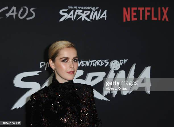 Actress Kiernan Shipka arrives for the Premiere Of Netflix's Chilling Adventures Of Sabrina held at The Hollywood Athletic Club on October 19 2018 in...