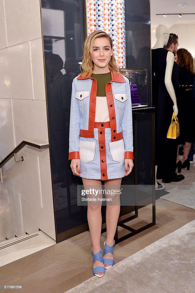 Actress Kiernan Shipka attends Fendi And Vogue Celebrate Fendi Beverly Hills at Fendi on March 24, 2016 in Beverly Hills, California.