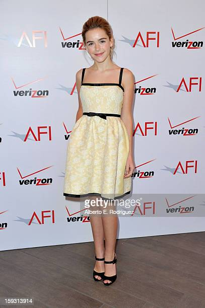 Actress Kiernan Shipka attends the 13th Annual AFI Awards at Four Seasons Los Angeles at Beverly Hills on January 11 2013 in Beverly Hills California