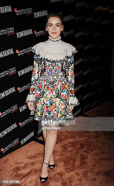 Actress Kiernan Shipka attends the 8th Annual Hamilton Behind The Camera Awards at The Wilshire Ebell Theatre on November 9, 2014 in Los Angeles,...