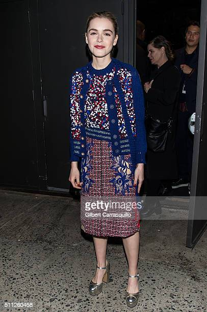 Actress Kiernan Shipka is seen outside the Marc Jacobs Fall 2016 fashion show during New York Fashion Week at Park Avenue Armory on February 18 2016...