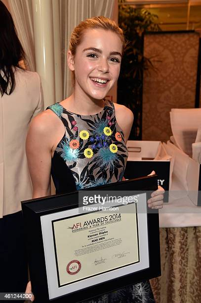 Actress Kiernan Shipka poses with award during the 15th Annual AFI Awards at Four Seasons Hotel Los Angeles at Beverly Hills on January 9 2015 in...
