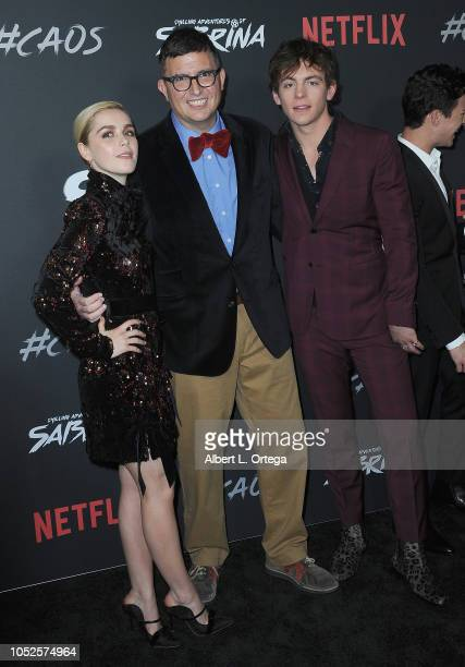 Actress Kiernan Shipka producer/creator Roberto AguirreSacasa and actor Ross Lynch at the Premiere Of Netflix's 'Chilling Adventures Of Sabrina' held...