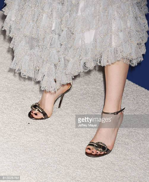 Actress Kiernan Shipka, shoe detail, at the 18th Costume Designers Guild Awards at The Beverly Hilton Hotel on February 23, 2016 in Beverly Hills,...