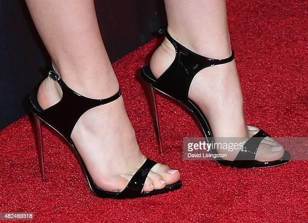 Actress Kiernan Shipka shoe detail attends STX Entertainment's The Gift Los Angeles premiere at Regal Cinemas LA Live on July 30 2015 in Los Angeles...