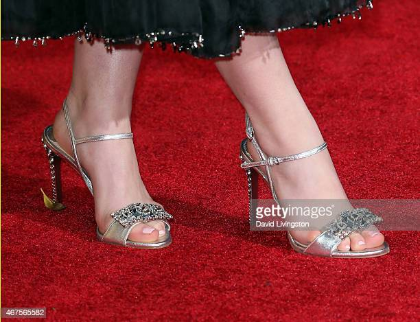 Actress Kiernan Shipka shoe detail attends the AMC celebration of the final 7 episodes of Mad Men with The Black Red Ball at the Dorothy Chandler...