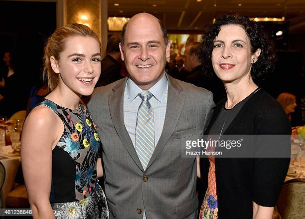 Actress Kiernan Shipka, writer-director Matthew Weiner and Linda Brettler attend the 15th Annual AFI Awards at Four Seasons Hotel Los Angeles at...