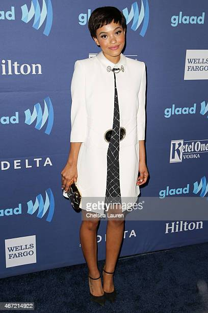 Actress Kiersey Clemons arrives at the 26th annual GLAAD media awards at The Beverly Hilton Hotel on March 21, 2015 in Beverly Hills, California.