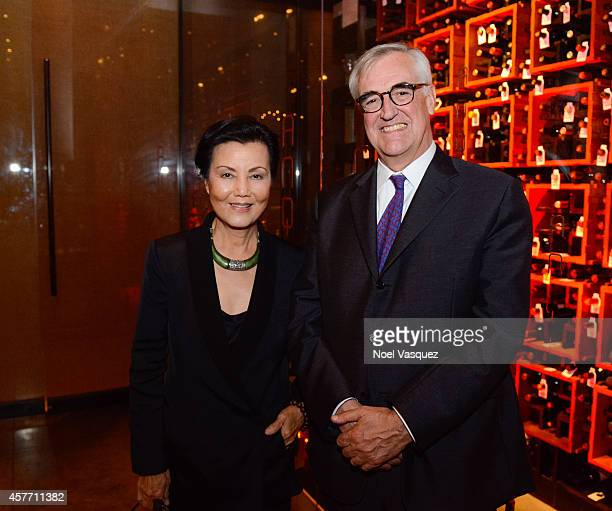 Actress Kieu Chinh and Maurice Hennessy attend Maurice's private tasting and dinner at AnQi Gourmet Bistro & Noodle Bar on October 22, 2014 in Costa...