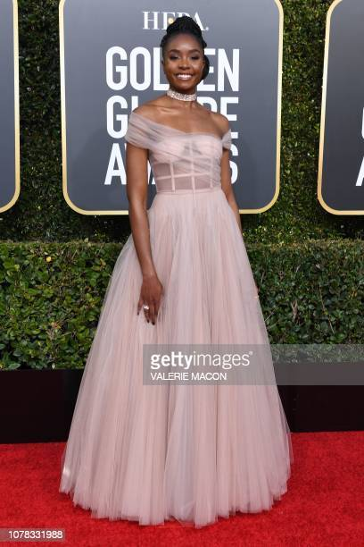 US actress Kiki Layne arrives for the 76th annual Golden Globe Awards on January 6 at the Beverly Hilton hotel in Beverly Hills California