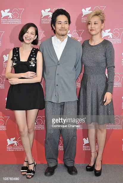 Actress Kiko Mizuhara actor Kenichi Matsuyama and actress Rinko Kikuchi attend the Norwegian Wood photocall at the Palazzo del Casino during the 67th...
