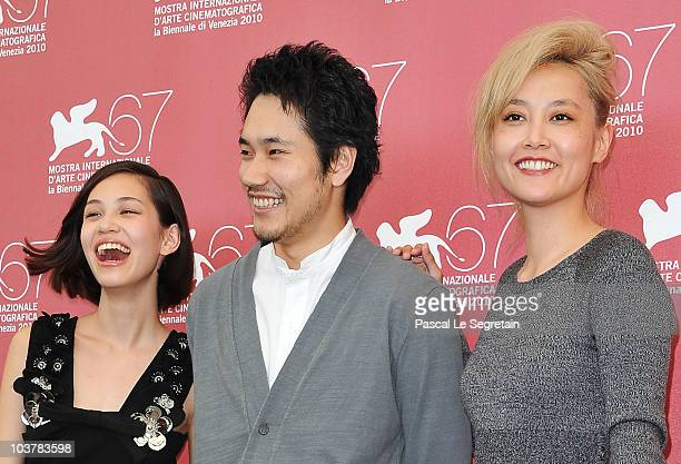 Actress Kiko Mizuhara actor Kenichi Matsuyama and actress Rinko Kikuchi attend the Norwegian Wood photocall during the 67th Venice Film Festival at...