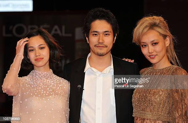 Actress Kiko Mizuhara actor Kenichi Matsuyama and actress Rinko Kikuchi attends the Norwegian Wood premiere during the 67th Venice Film Festival at...