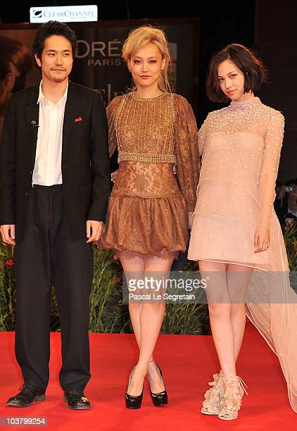Actress Kiko Mizuhara actor Kenichi Matsuyama and actress Rinko Kikuchi attend the Norwegian Wood premiere during the 67th Venice Film Festival at...