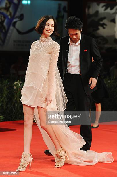 Actress Kiko Mizuhara and actor Kenichi Matsuyama attend the Norwegian Wood premiere at the Palazzo del Cinema during the 67th International Venice...