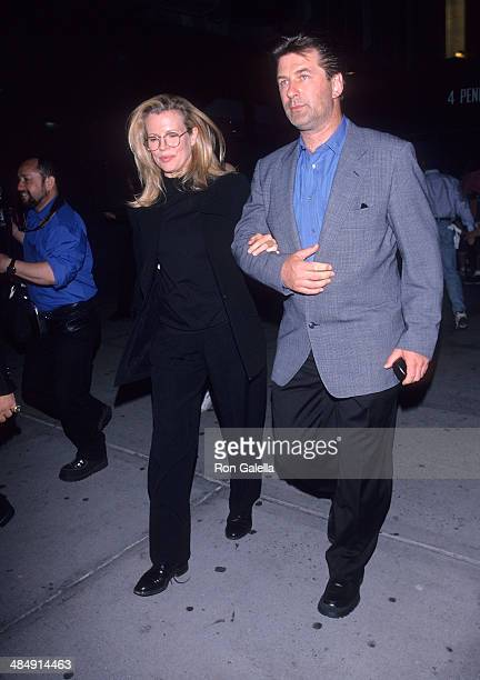 Actress Kim Basinger and actor Alec Baldwin attend the 1999 NBA Playoffs Eastern Conference Finals Game 3 Indiana Pacers vs New York Knicks on June 5...
