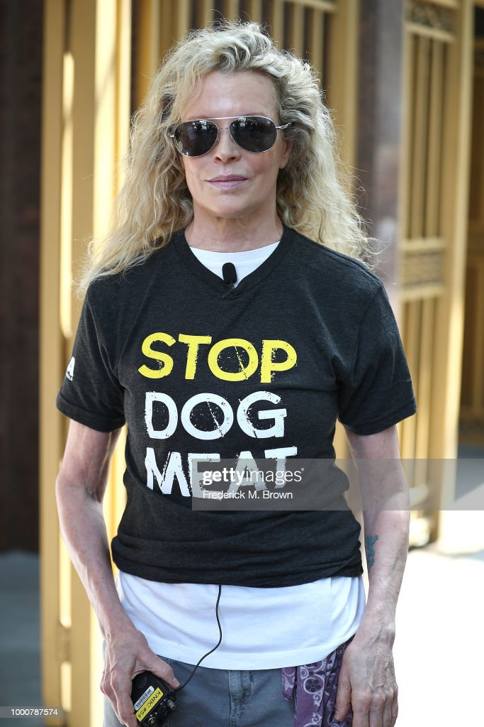 Priscilla Presley And Kim Basinger Attend Protest In Los Angeles Tuesday Against The South Korea Dog Meat Trade
