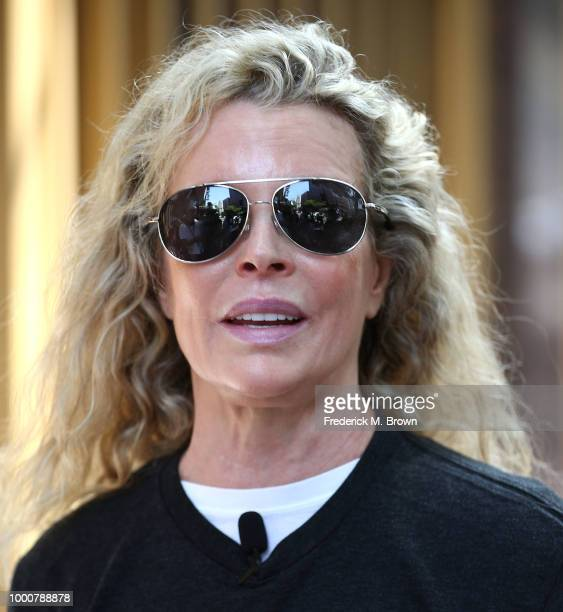 Actress Kim Basinger attends a protest in Los Angeles Tuesday against the South Korea dog meat trade on July 17 2018 in Los Angeles California