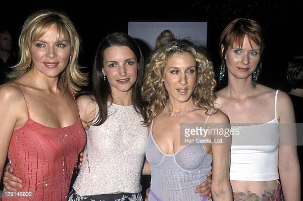 Actress Kim Cattrall actress Kristin Davis actress Sarah Jessica Parker and actress Cynthia Nixon attend the Screening of the Season Three Premiere...