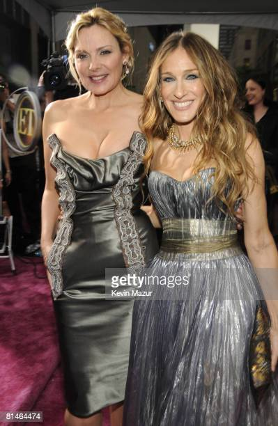 Actress Kim Cattrall and actress Sarah Jessica Parker attend the premiere of 'Sex and the City The Movie' at Radio City Music Hall on May 27 2008 in...