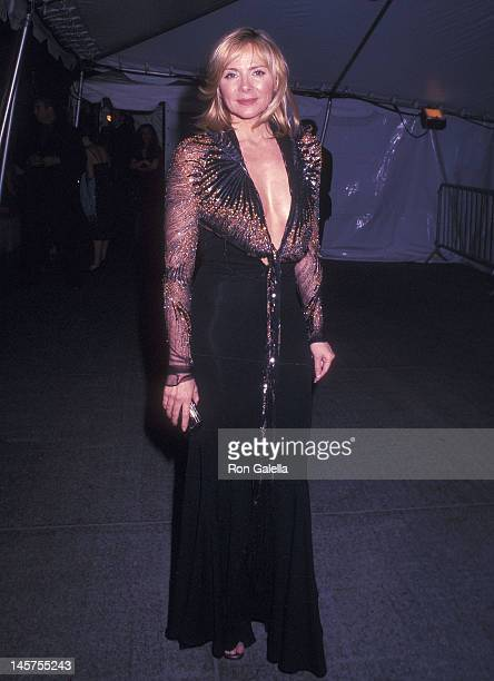 Actress Kim Cattrall attends the Metropolitan Museum of Art's Costume Institute Gala Exhibition of 'Goddess' on April 28 2003 at the Metropolitan...