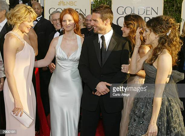 Actress' Kim Cattrall Cynthia Nixon Actor Tom Cruise Actress Kristin Davis and Actress Sarah Jessica Parker attend the 61st Annual Golden Globe...