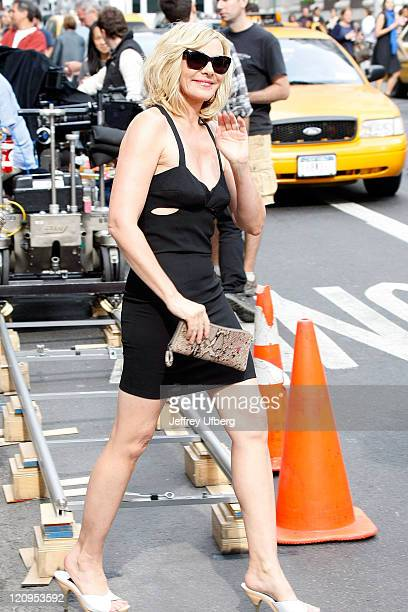 Actress Kim Cattrall filming on location for 'Sex And The City 2' on the streets of Manhattan on September 8 2009 in New York City