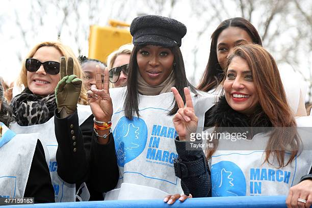 """Actress Kim Cattrall, model Naomi Campbell, and UN Women for Peach chairwoman Muna Rihani al-Nasser attend the """"MARCH IN MARCH"""" to end violence..."""