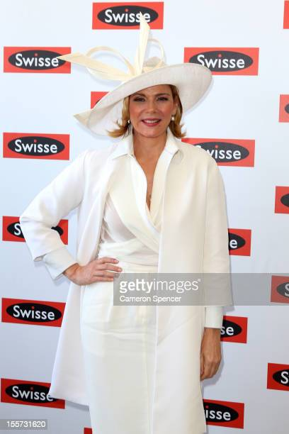 Actress Kim Cattrall poses at the Birdcage Enclosure on Crown Oaks Day at Flemington Racecourse on November 8 2012 in Melbourne Australia