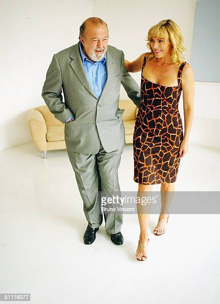 Actress Kim Cattrall poses with director Sir Peter Hall to promote her new role as Claire Harrison in Brian Clark's classic play 'Whose Life is it...