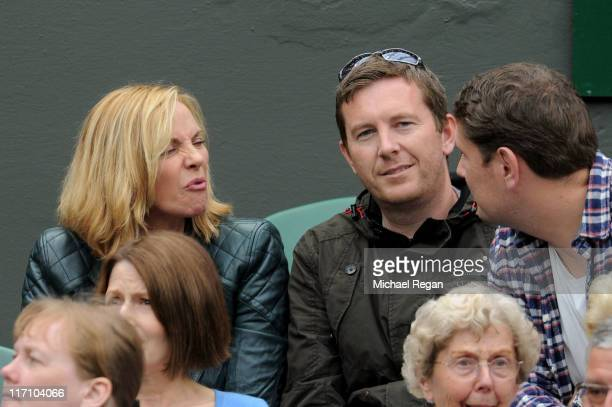 Actress Kim Cattrall watches the second round match between Venus Williams of the United States and Kimiko DateKrumm of Japan on Day Three of the...