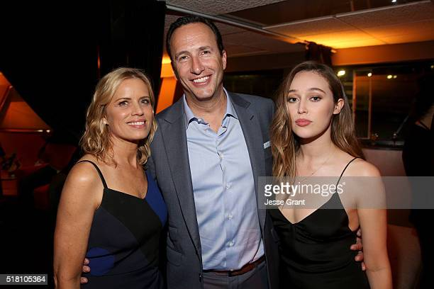 Actress Kim Dickens AMC President and General Manager Charlie Collier and actress Alycia DebnamCarey attend the after party for the the season 2...